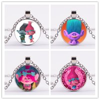 Wholesale Vintage Gem Necklace - 10styles Trolls Pendant Necklaces Poppy Branch Biggie Suki Gristle 4colors vintage Time gem sweater chain gifts for adult and teena