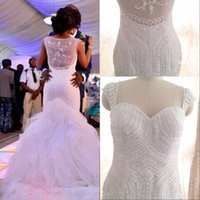 Wholesale Hair Pic - Luxury Vintage Lace Mermaid Wedding Dresses Sweetheart Beads Bridal Gowns Real Pic Custom Made Wedding Dresses Free hair accessories