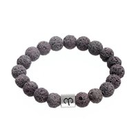 Wholesale Wristband Stylish - Simple Design Style Zodiac Alloy Charm Bangles Stylish Grey Volcanic Stone Beads Bracelet Constellation Pattern Wristbands