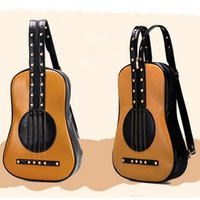 Wholesale Backpacks Guitars - Wholesale- Sale New 2017 Women Guitar Violin Rivets Leather Backpacks women's School Travel Shoulder Bag for teenagers Girls bags red LJ7