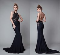 Wholesale Black Satin Backless Dress - Sexy Black Mermaid Dresses Evening Wear 2017 Berta Sheer Lace Appliques Halter Backless Prom Dress Long Satin Formal Red Carpet Gowns