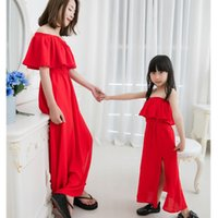 Mom Girls Chiffon Kleid Vestidos Mutter Tochter Red Kleider 2017 Kinder Mädchen Sundress Frauen Beach Party Kleid Familie Match Outfits Kleidung