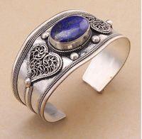 Wholesale Old China Porcelain - Vintage Old Silver Lapis Lazuli Bead Cuff Bracelet Bangle Tibet Silver Heart