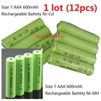 Wholesale rechargeable volt batteries - 12pcs 1 lot Size 7 AAA 1.2V 600mAh Ni-MH Ni-Cd Rechargeable Battery 1.2 Volt Ni MH Ni Cd batteries free shipping