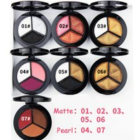 Wholesale Eye Shadow Small Palette - New arrival matte eye shadow palette make-up ultra-light 3-color small disc eye shadow cosmetics NET: 1.8g 48 PCS   SET