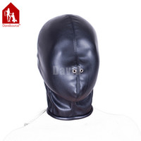 Davidsource Zipper Tight Fit Black Elastic Leather Full Head Blind Hood Bondage Breathable Slave Pig Head Gear Секс-игрушка