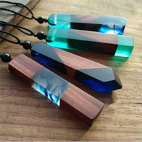 Wholesale Wholesale Hang Sweaters - Red Wood Solid wood Personality Pendant Sweater Chain of the Sea Solidified time Resins of the Men and Women's Fashion hang