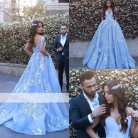 Wholesale Modern Baby Formal Gowns - Baby Blue A Line Evening Dresses 2017 Cap Sleeve V Neck Prom Dresses With Pockets Pearls Low Back Formal Evening Gowns Newest