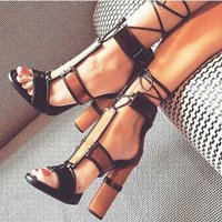Wholesale High Ankle Gladiator Sandals - wholesale luxury western fashion chunky heel women lace up sandals patchwork gladiator sandals summer dress shoes plus size 42