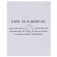 30PCS Fairy Tale Unicorn Necklace Animal Gold / Silver Unicorn Pendentif Pendentif Collier Jewelry Wish Card Gift for Women