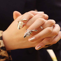 Novo Exquisite Bonito Retro Queen Dragonfly Design Rhinestone Plum Snake Gold / Silver Ring Finger Nail Rings