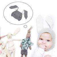 Wholesale Woolen Caps For Boys - Baby Kids Cute spinning caps Boys Girls lovely Rabbit Ear woolen Hat for Children Winter Warm Crochet hats Earmuff Earcap Knitted Cap Towoto