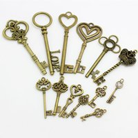 Wholesale G Bell - Sweet Bell 13-25 pattern Mixed 100 g Assorted key Charms Pendants key Metal Alloy Pandent Plated Antique Bronze Diy D0674