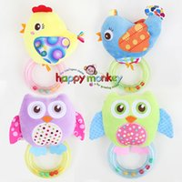 Wholesale Toy Red Jet Plane - 0-3 Y Baby Rattle hand Bell Toy 5 Style Owl Bird Chicken Animals Plush Happy Monkey Gift WJ290
