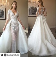 Wholesale Long Fairy Tulle Skirt - 2017 Fairy Lace Tulle Over Skirts Long Sleeve Country Wedding Dresses Zuhair Murad Champagne Dubai Arabic Over Skirt Bridal Wedding Gowns