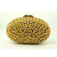 Wholesale Skeleton Phone Cases - Wholesale- Oval-shaped Gold Evening Bag for Women Yellow Crystal Clutch Purse Hard Case Skeleton Rhinestone Bridal Clutch for Weddings