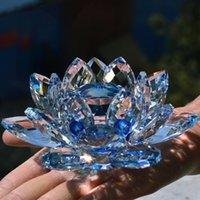 Wholesale paperweights gifts - 8 CM Crystal Glass Lotus Flower Paperweight Feng Shui natural stones and minerals souvenirs Craft Gift For Home Wedding Decor