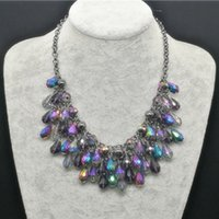 Wholesale Statement Necklaces Multi Layers - Brand New Jewelry Cheap Bohemian Colorful Crystal Beads Choker Colares Necklace Women Fashion Multi Layer Silver Chains Statement Necklaces