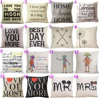 Wholesale Valentine Day Pillows Wholesale - 16 Styles18x18 inches Cotton Linen Quote Cushion Cover Cover Romantic Valentine Day Gift Pattern Pillowcase Throw Pillow Cover
