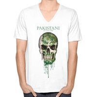 Wholesale Flag Tees - Pakistan Skull Flag New Fashion Men's V-neck T-shirts Short Sleeve Summer Mens Tshirt Male Tops Tees Wholesale