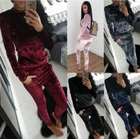 Wholesale Ladies Velvet Suits - 9223# Womens Ladies Crushed Velvet 2Pcs Tracksuit Sweatshirt Pants Sets Pajamas Sport Suit Activewear Outfit Outwear