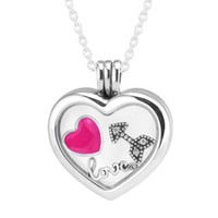 Wholesale Medium Locket - Heart Medium Floating Locket Silver Necklace With Three Petites 100% 925 Sterling Silver Necklace DIY Jewelry