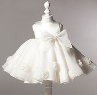 Wholesale Chiffon Baptism Dresses - NEW baby girl baptism dress bow kids baby 1 year birthday dress for girls toddler princess tutu dress for special events