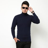 Wholesale Thermal Turtleneck Sweater - Wholesale- Men Turtleneck Sweater Winter New Fashion Knitted Pullovers Thermal Free Shipping