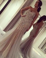 2018 Luxo Querida Pescoço, sem mangas, Vestidos de noiva Mermaid Beads Crystals Rhinestone Formal Evening Dresses Party Gown Custom Made