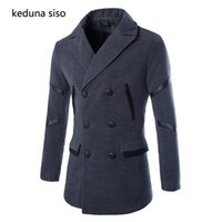 Wholesale Mens Peacoats - Wholesale- 2016 Wool Blends Men Winter Fashion Woolen Outerwear Pea Overcoat Double Breasted Peacoats Mens Trench Coat Manteau Homme Black