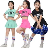 Wholesale Kids Ballroom Dance Costumes - 3 Colors Children Cheerleading Dancewear Costume Kids Pink Competition Dance Skirt Boys and Girls Performance Cheerleading Costume Outfits