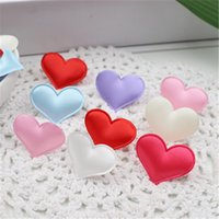 Wholesale Scrapbook Christmas - Wholesale-2016 New 100pcs Silk Cute Heart Cloth Cake Decoration For Wedding Home Decoration Hats Shoes Scrapbook Decorative Craft Supplies