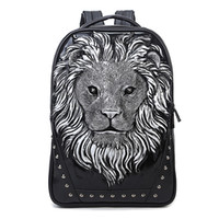 Wholesale Metallic Laptop - Personalized 3D Lion Studded PU Leather Casual Laptop Backpack School Bag