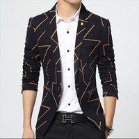 Wholesale Korean Blazers - Wholesale- Blazer Men Autumn 2016 Korean Slim Fit Suit Fashion Stripe Single Button Plus Size M-3XL Men's Blazer Casual Men's Jacket HJ491