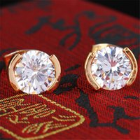 Mini Size Flower Style AAA + CZ Diamante Stud Earrings 18K Amarelo Ouro banhado Crystal Fashion Wedding Jewelry para bebê Kids Women / Lady