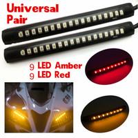 ingrosso luci freno per motociclette-2x universale flessibile 18 LED Ambra / Rosso ATV Coda freno stop Segnale di direzione fanalino posteriore Luce lampeggiante