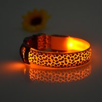 Wholesale Dropshipping Pet - Night Safety LED Nylon Pet Dog Collar LED Light Glow in Dark Leopard Print Pet Collar Fashion Pet Products Dropshipping