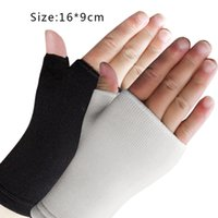 Wholesale Thin Half Finger Gloves - Wholesale- 1 Pair Ultra Thin Breathable Man Woman Half Finger Gloves Elastic Wrist Supports hot Sale