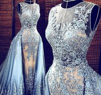 Wholesale Saab Real Pictures - Real Images Light Blue Elie Saab 2017 Evening Dresses with Detachable Train Transparent Formal Party Pageant Gowns Lace Celebrity Prom Long