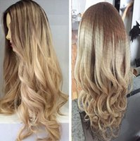 Wholesale Ombre Hairstyles Blondes - Ombre Two Tone Blonde Color 100% Brazilian human hair full lace wigs & lace front wigs bleached knots ombre #8 22 human hair wigs