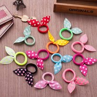 Wholesale Hair Rubber Small - (Send U Mixed Colors) Mini Small Bunny Rabbit Ears Headband Hair Rope Rubber Bands Baby Girls' Kids Cute Hair Accessories