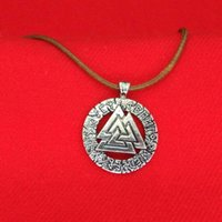 Wholesale silver neckalces - ODIN Triangle Norse Symbols Viking runes amulet neckalces Antique Silver Occult pendant for men women jewelry Gift 161585