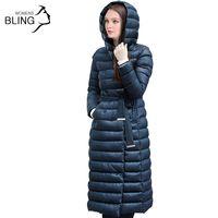 Wholesale Down Double Green - 2016 Snow Winter Down Jacket Women Coat 90 % White Duck Down with Belt Longer Knee Women's Hooded Double Breasted Jackets