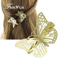 Wholesale Hair Accessories Hairpin Butterfly - 1 pcs Fashion Hair Jewelry Gold Color Butterfly Clip Hairpins New Coming Hairwear Wedding Hair Accessories for Women