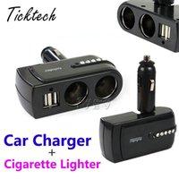 Wholesale Car Cigarette Socket Splitter - NEW Car Cigarette Lighter Super drop ship 2 USB Port Charger Supply + Double Sockets Extender Splitter Mar714 with retail box Free Shipping