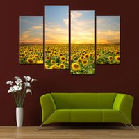 Wholesale Sunflower Oil Painting Canvas - 4 Panel Sunflowers Canvas Prints Artwork Landscape Pictures Paintings on Canvas Wall Art for Home Decorations with Wooden Framed