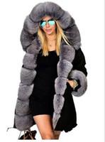 Wholesale Thick Faux Fur Hat - Women's Long parkas hooded collar with Faux Fur cotton long down coat good quality warm outwear