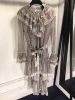 Wholesale Vintage Ruffle Summer Dress - Women Asymmetrical Dress Loose Elegant Lace Dress Women Vintage Ruffles Sleeve Dresses in Women's Runway Dress 2017 Spring Summer