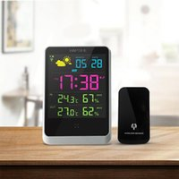 Wholesale weather station clock led - Wholesale- Weather Station Indoor Outdoor Digital Alarm Clock With LED Screen Date Time Displaying