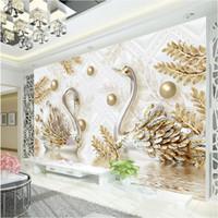 murais wallpaper cisnes venda por atacado-Papel de parede de luxo Jóias Cisne Adesivo Personalizado 3D Papel De Parede para parede Diamante Quarto Salão de beleza Coffee shop Modern Designer Room decor